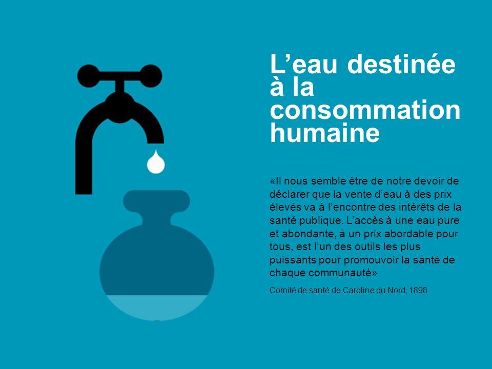 L'eau destinée à la consommation humaine