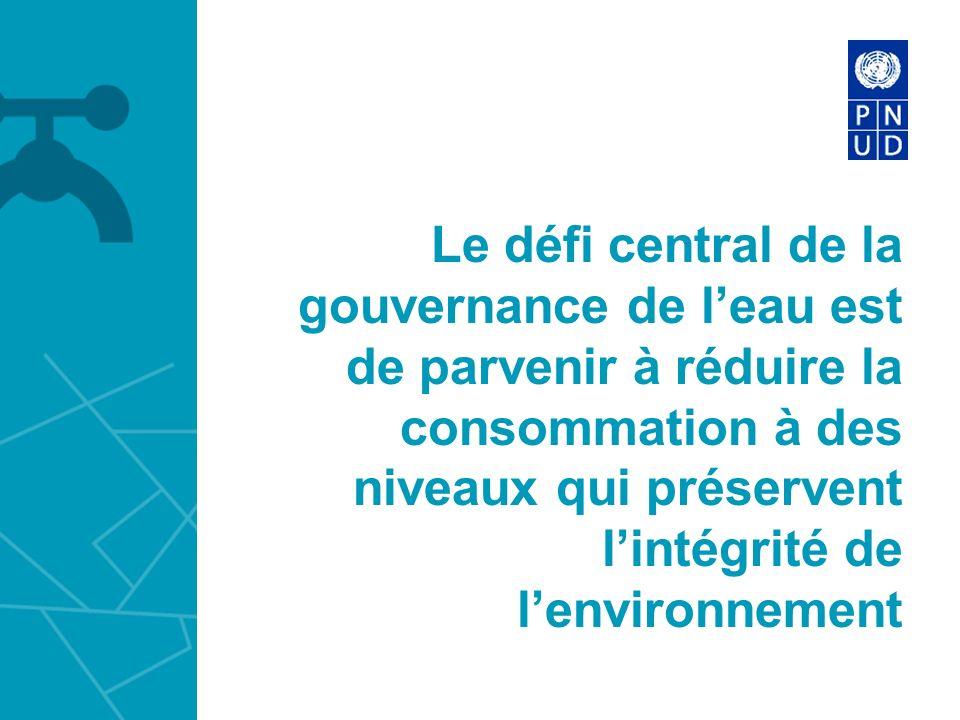 Le défi central de la gouvernance de l'eau est de parvenir à réduire la consommation à des niveaux qui préservent l'intégrité de l'environnement
