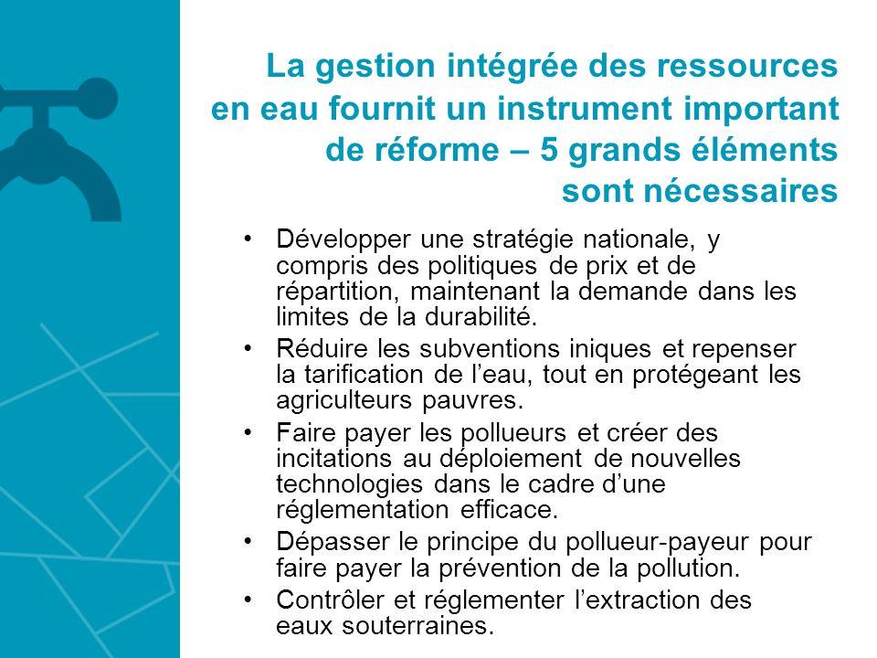 La gestion intégrée des ressources en eau fournit un instrument important de réforme – 5 grands éléments sont nécessaires