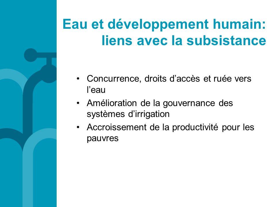 Eau et développement humain: liens avec la subsistance
