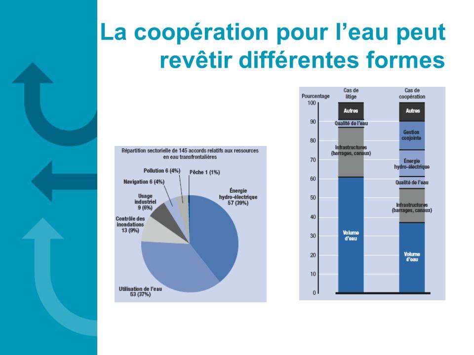 La coopération pour l'eau peut revêtir différentes formes