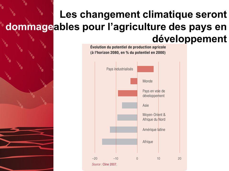 Les changement climatique seront dommageables pour l'agriculture des pays en développement