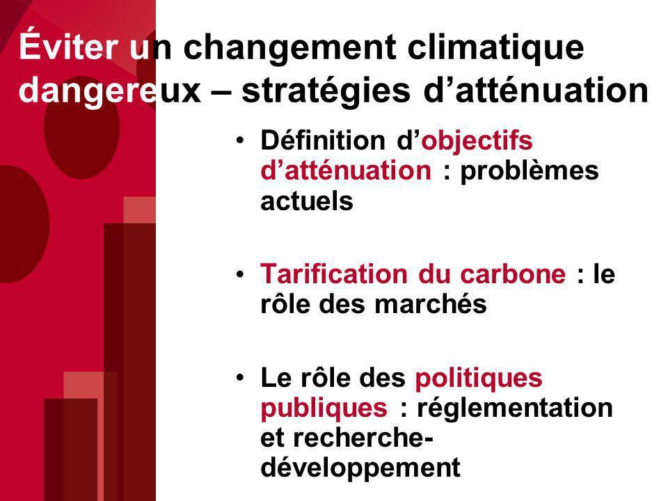 Éviter un changement climatique dangereux – stratégies d'atténuation