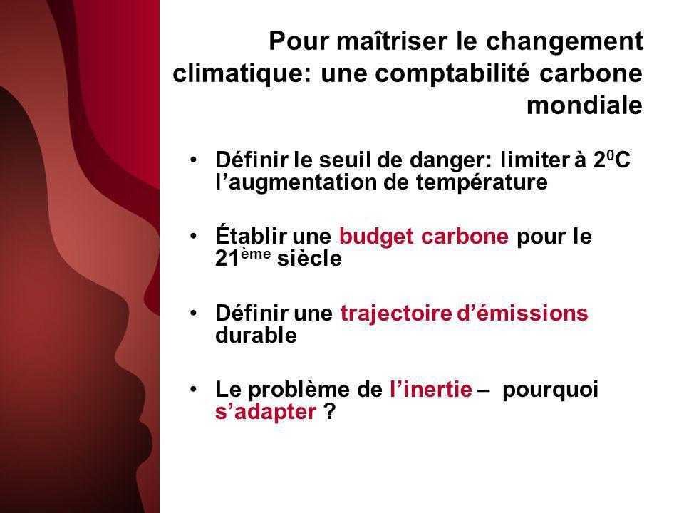Pour maîtriser le changement climatique: une comptabilité carbone mondiale