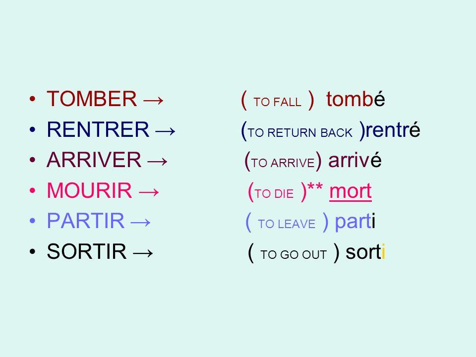 TOMBER → ( TO FALL ) tombé