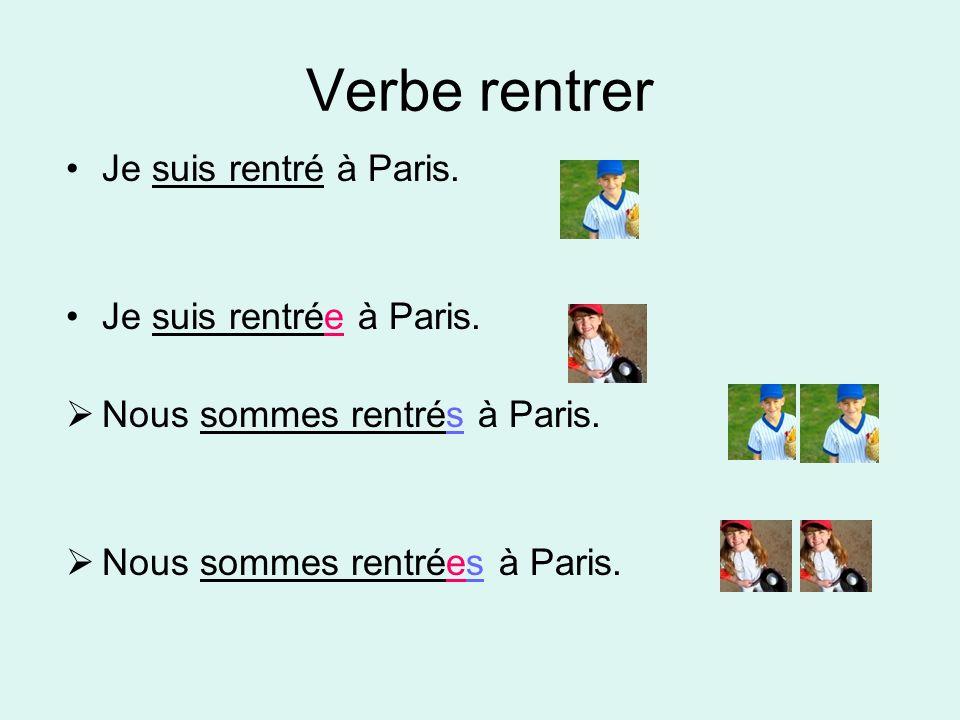 Verbe rentrer Je suis rentré à Paris. Je suis rentrée à Paris.