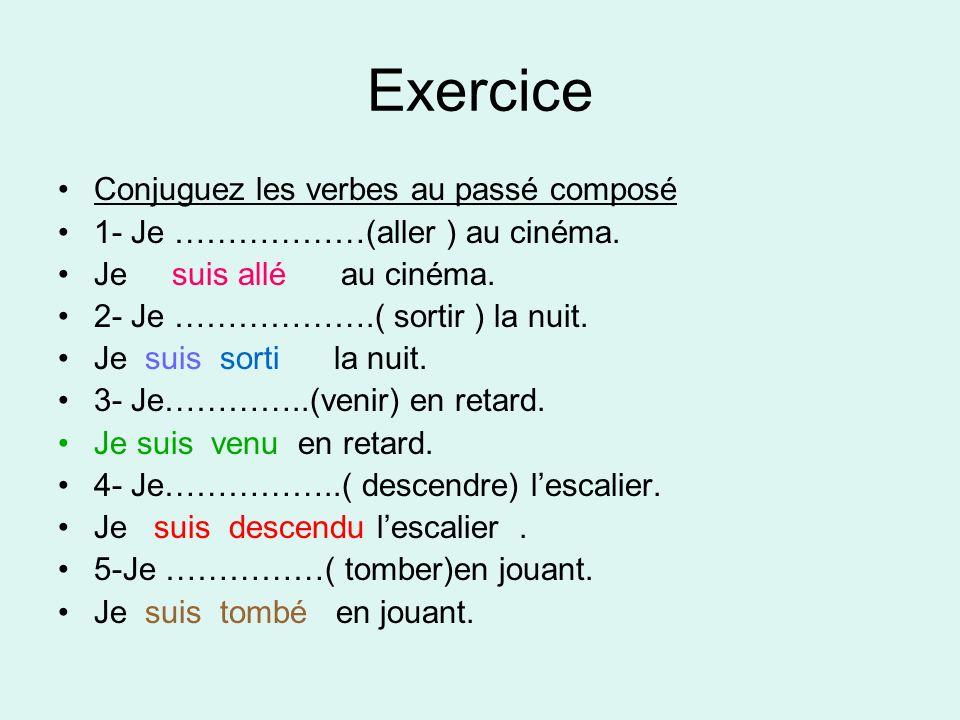 Exercice Conjuguez les verbes au passé composé