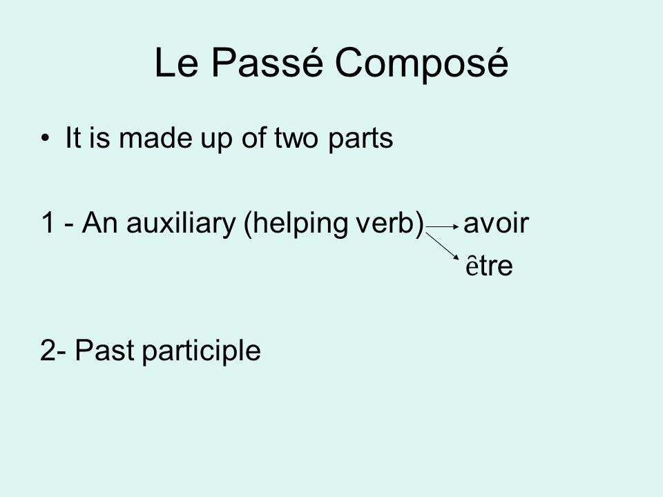 Le Passé Composé It is made up of two parts