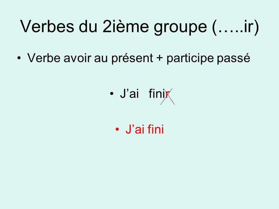 Verbes du 2ième groupe (…..ir)