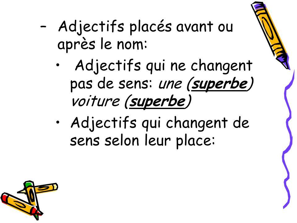 Adjectifs placés avant ou après le nom: