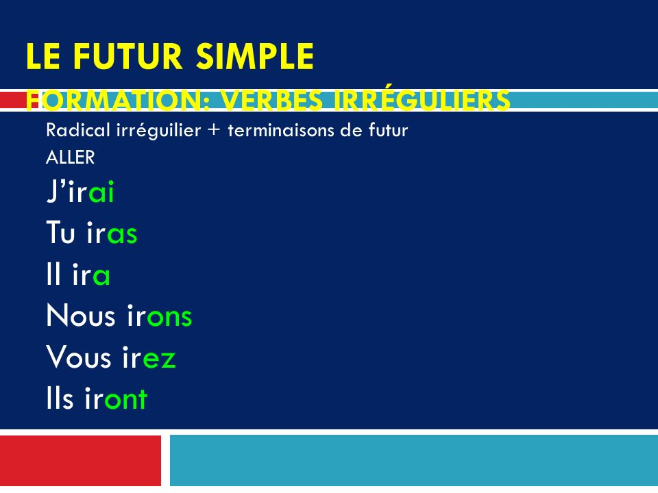 Le futur simple FORMATION: VERBES IRRÉGULIERS