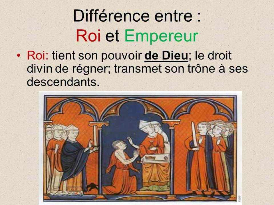 Différence entre : Roi et Empereur