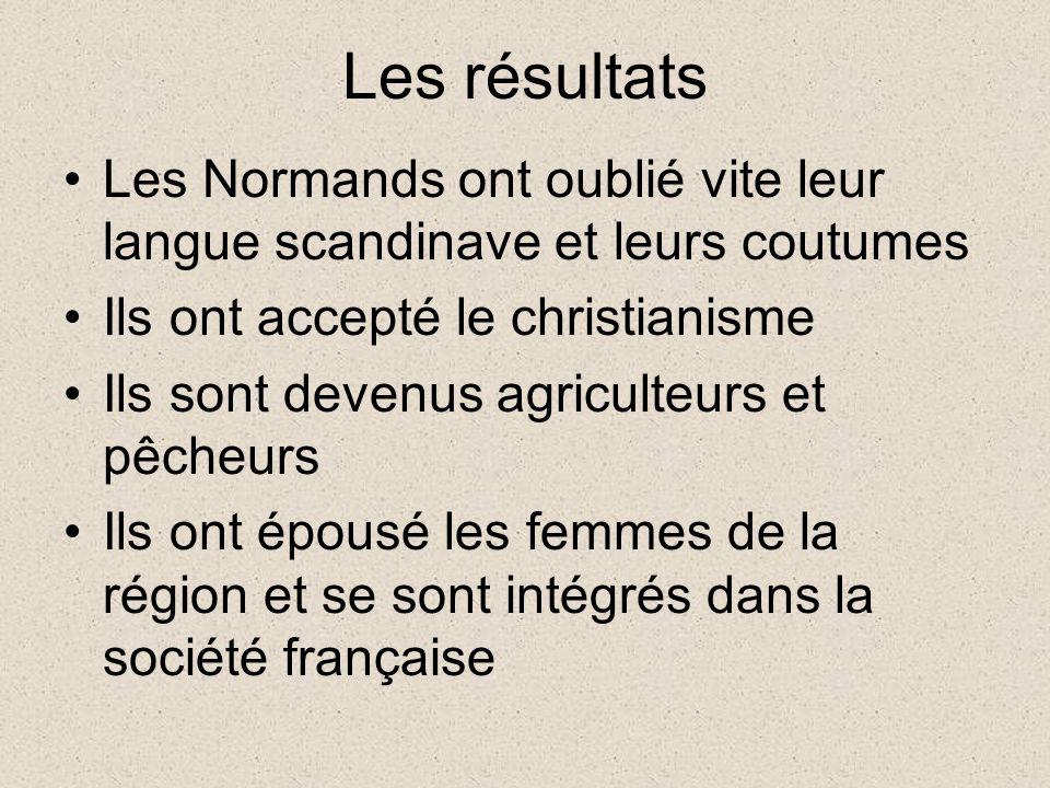 Les résultats Les Normands ont oublié vite leur langue scandinave et leurs coutumes. Ils ont accepté le christianisme.