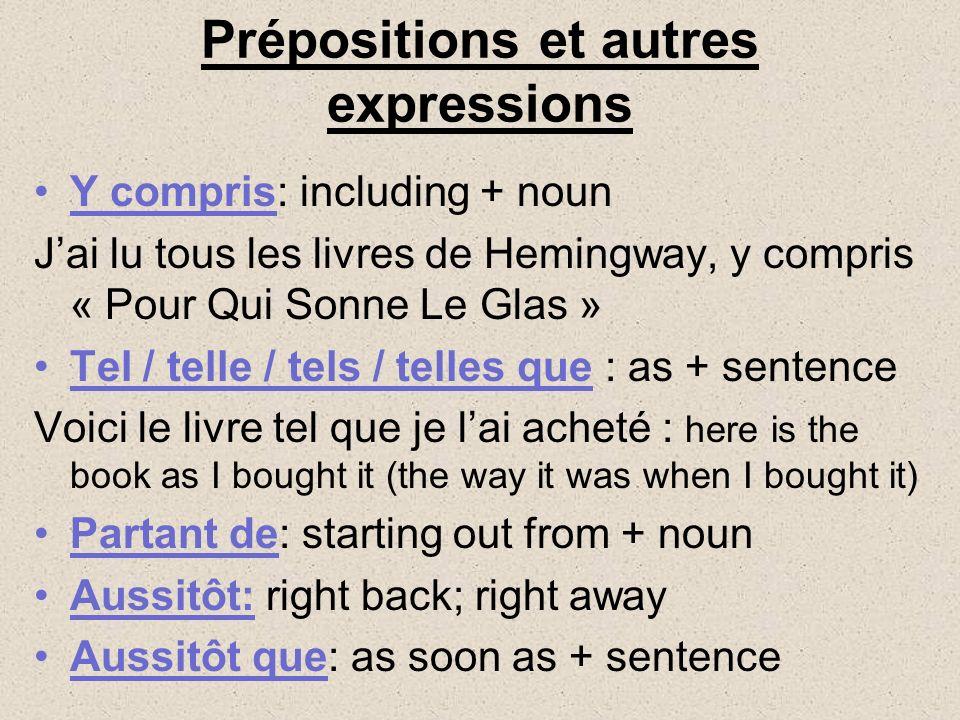 Prépositions et autres expressions
