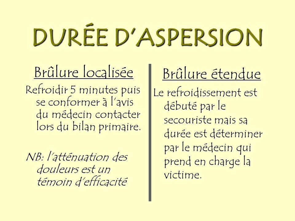 DURÉE D'ASPERSION Brûlure localisée Brûlure étendue