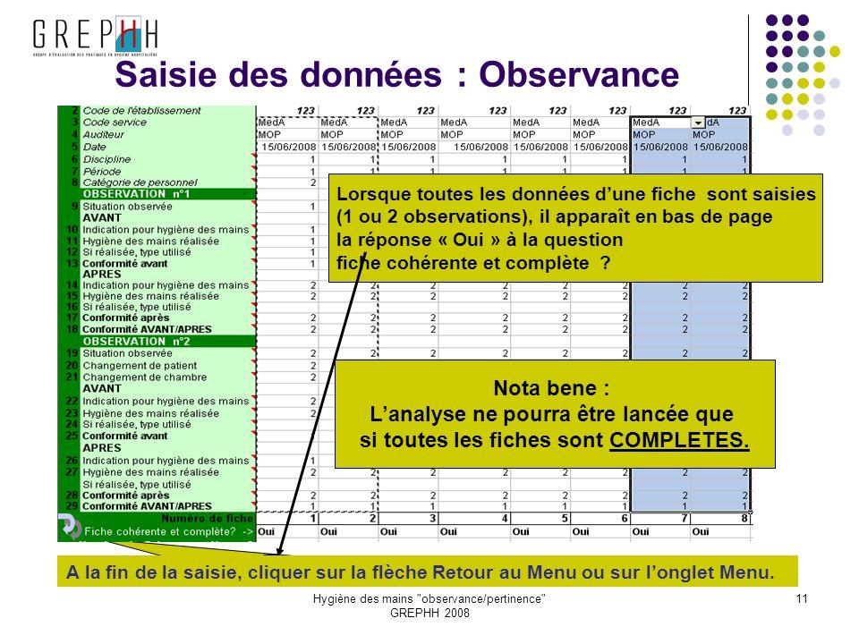 Saisie des données : Observance