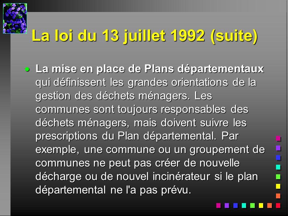 La loi du 13 juillet 1992 (suite)