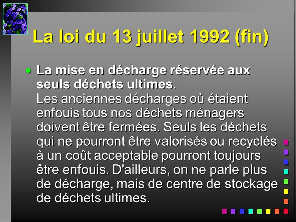 La loi du 13 juillet 1992 (fin)