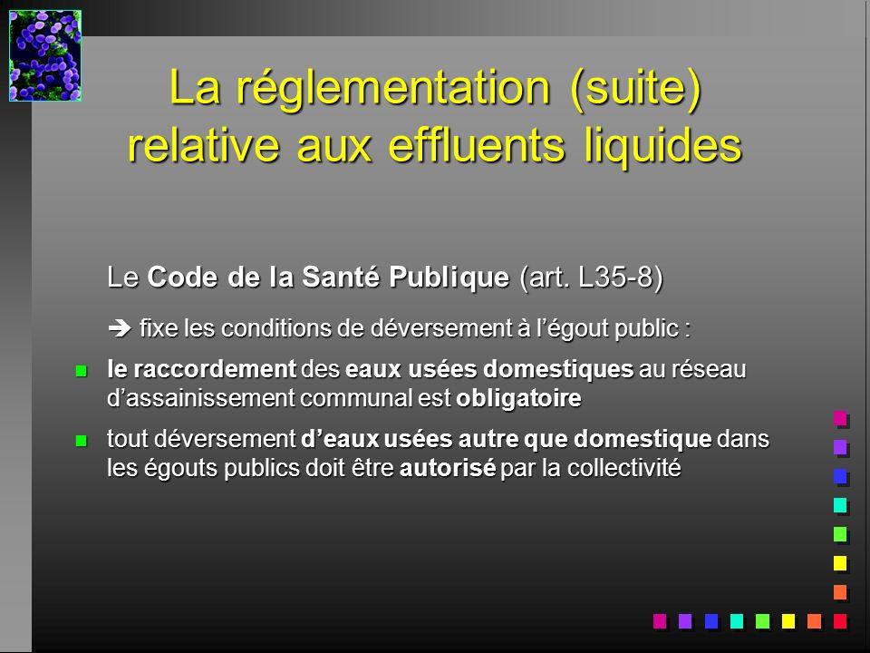 La réglementation (suite) relative aux effluents liquides