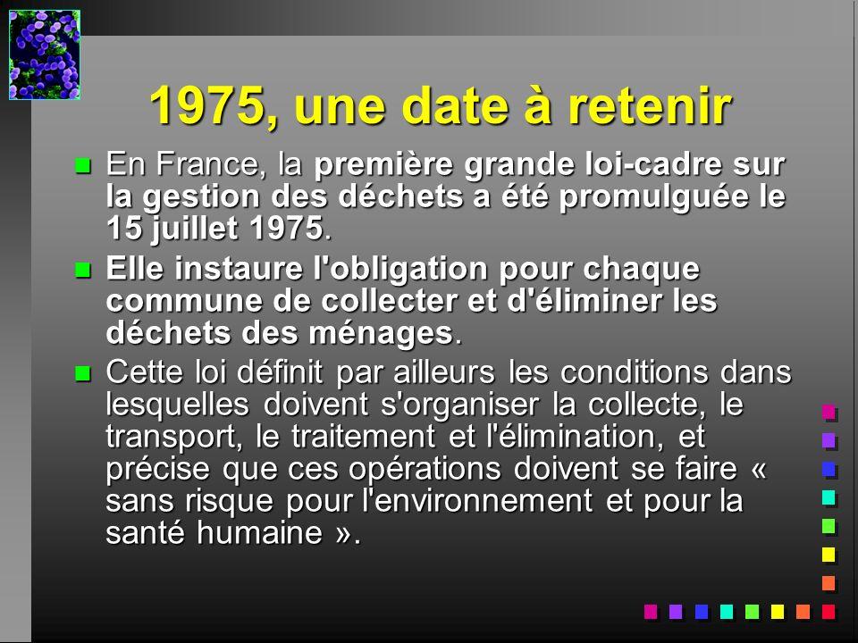 1975, une date à retenir En France, la première grande loi-cadre sur la gestion des déchets a été promulguée le 15 juillet 1975.