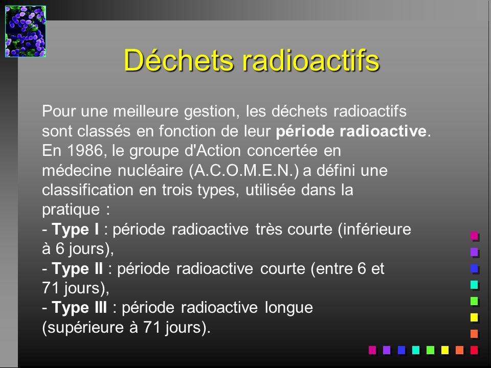 Déchets radioactifs Pour une meilleure gestion, les déchets radioactifs. sont classés en fonction de leur période radioactive.