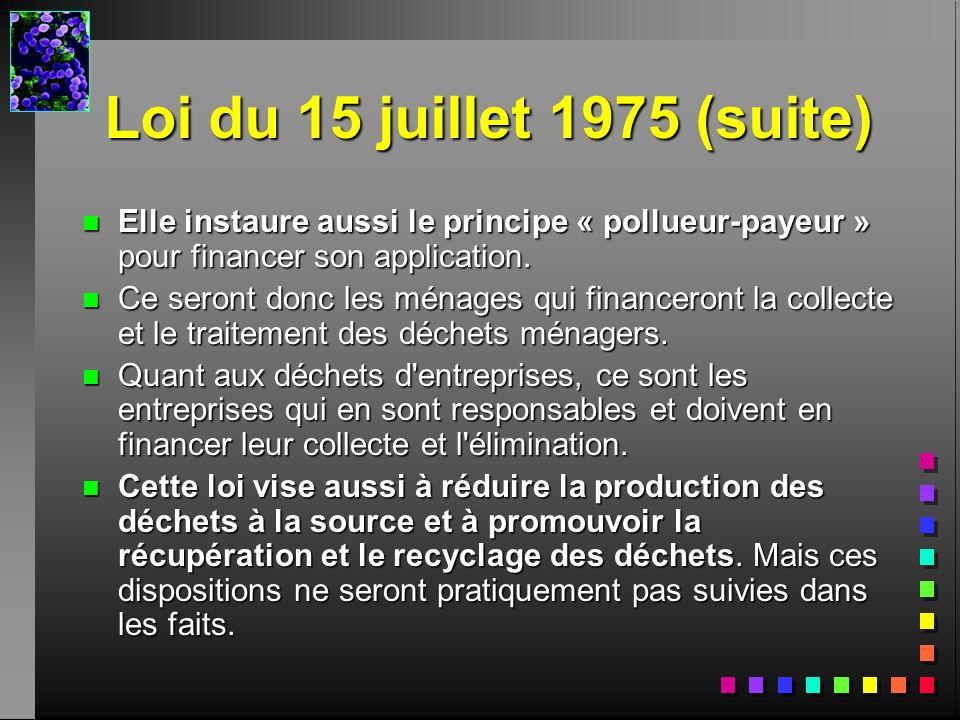 Loi du 15 juillet 1975 (suite) Elle instaure aussi le principe « pollueur-payeur » pour financer son application.