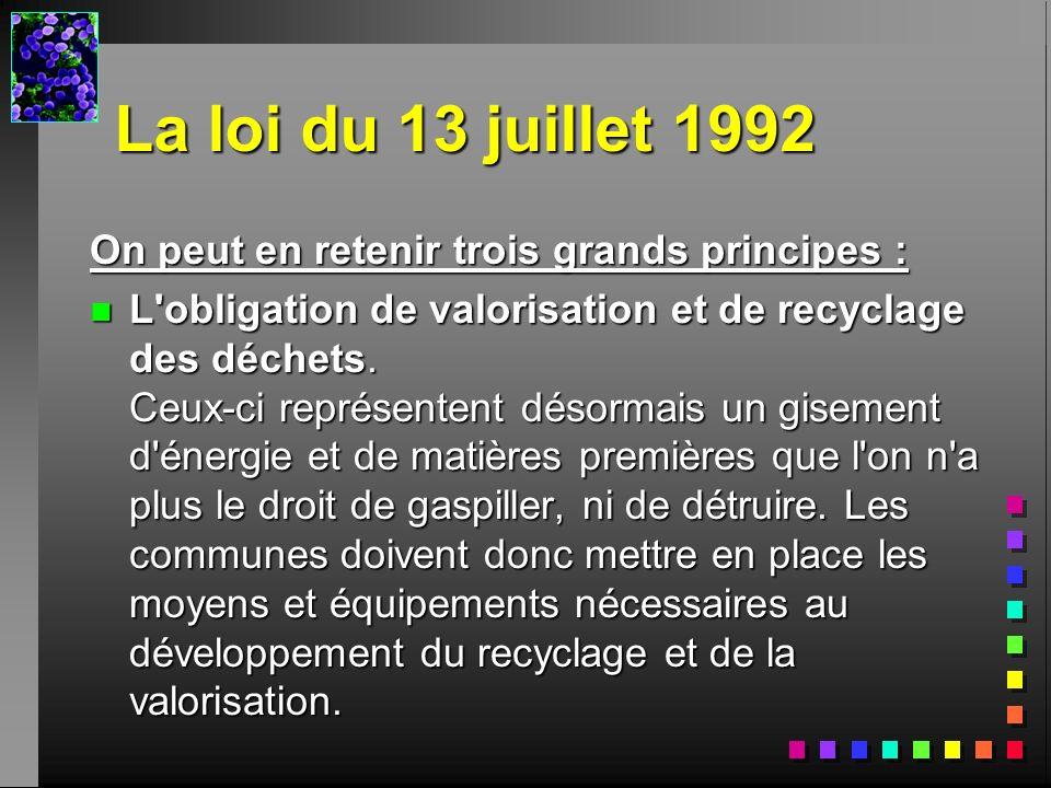 La loi du 13 juillet 1992 On peut en retenir trois grands principes :