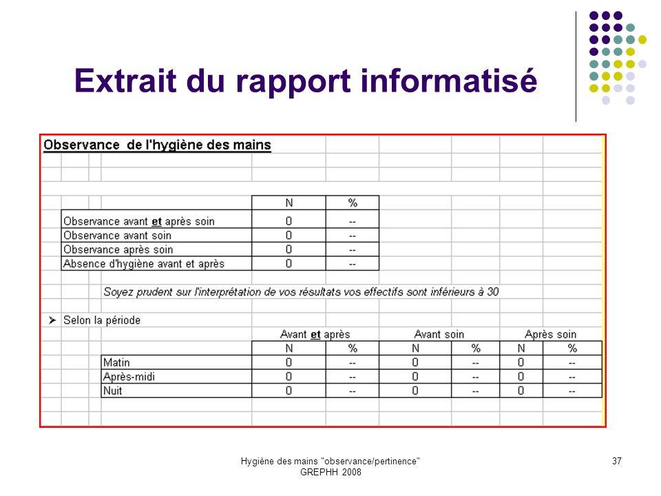 Extrait du rapport informatisé