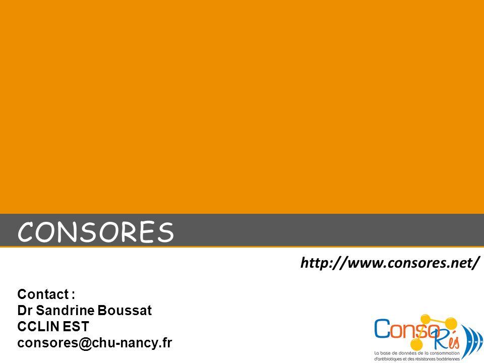 Contact : Dr Sandrine Boussat CCLIN EST consores@chu-nancy.fr