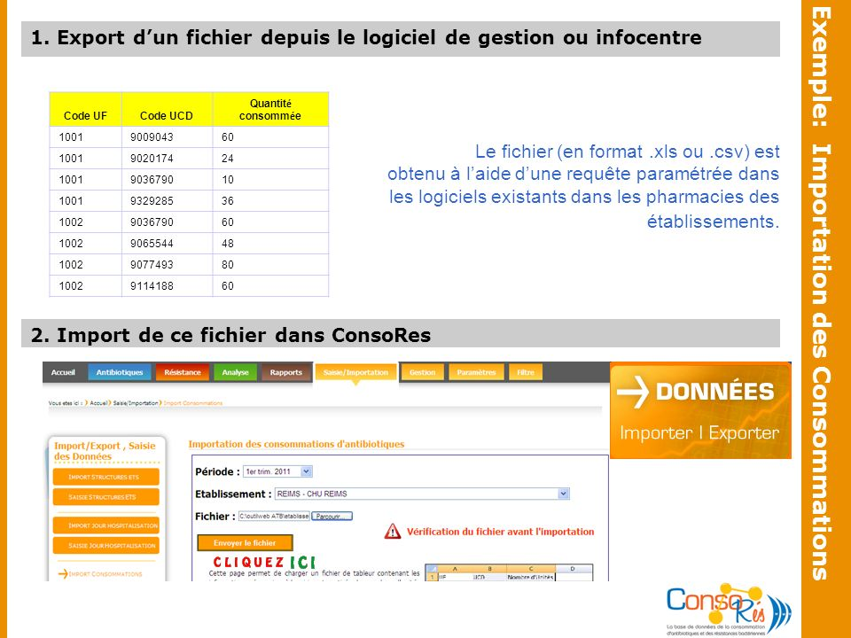 Exemple: Importation des Consommations