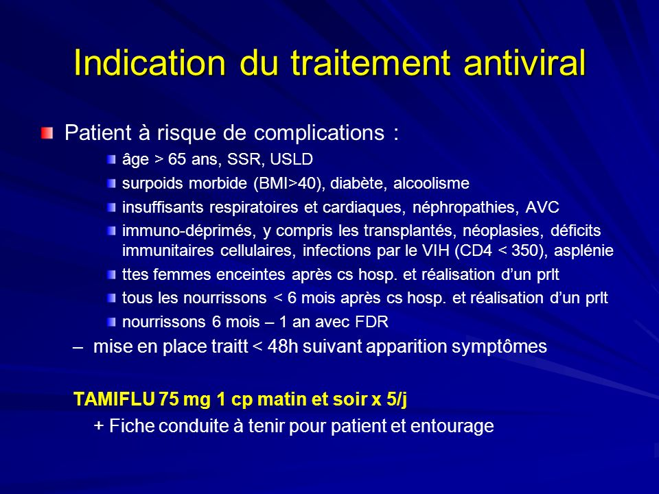 Indication du traitement antiviral