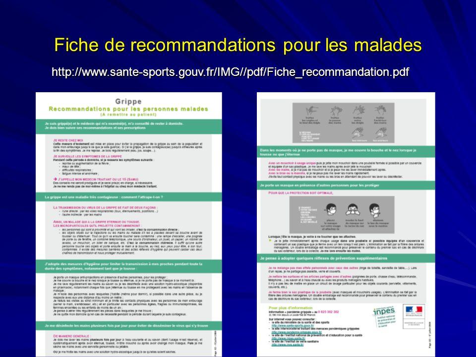 Fiche de recommandations pour les malades