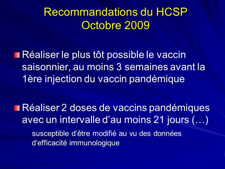 Recommandations du HCSP Octobre 2009