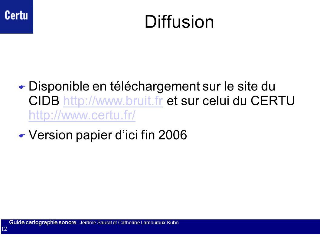 Diffusion Disponible en téléchargement sur le site du CIDB http://www.bruit.fr et sur celui du CERTU http://www.certu.fr/