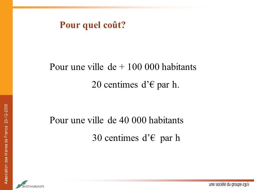 Pour quel coût Pour une ville de + 100 000 habitants. 20 centimes d'€ par h. Pour une ville de 40 000 habitants.