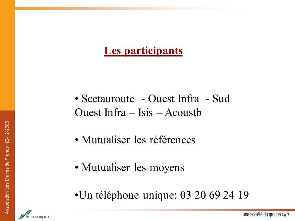 Les participants Scetauroute - Ouest Infra - Sud Ouest Infra – Isis – Acoustb. Mutualiser les références.