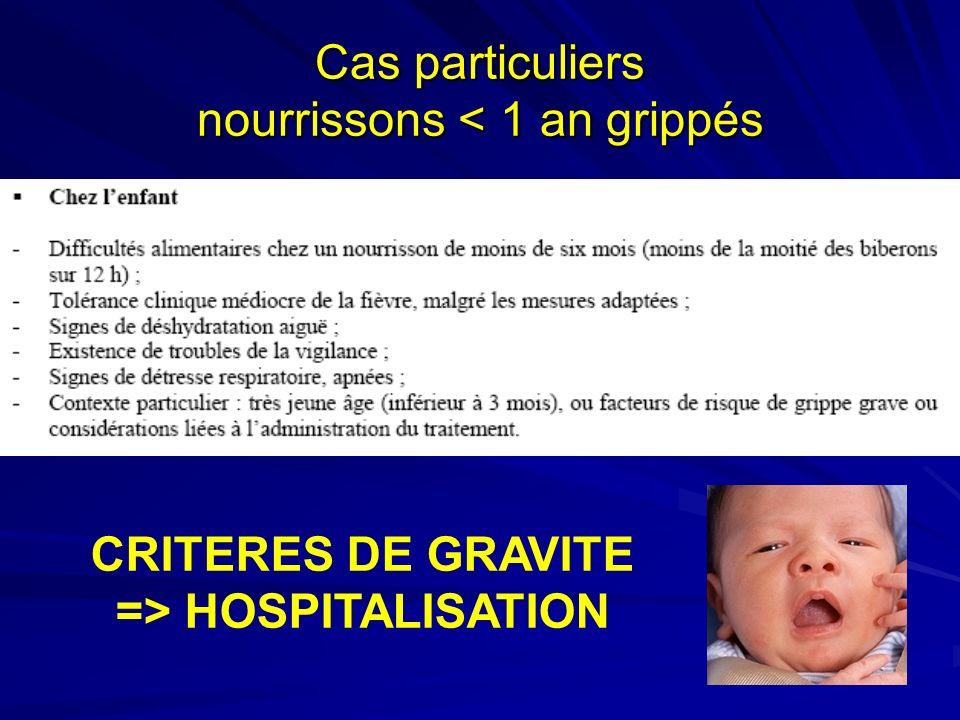 Cas particuliers nourrissons < 1 an grippés
