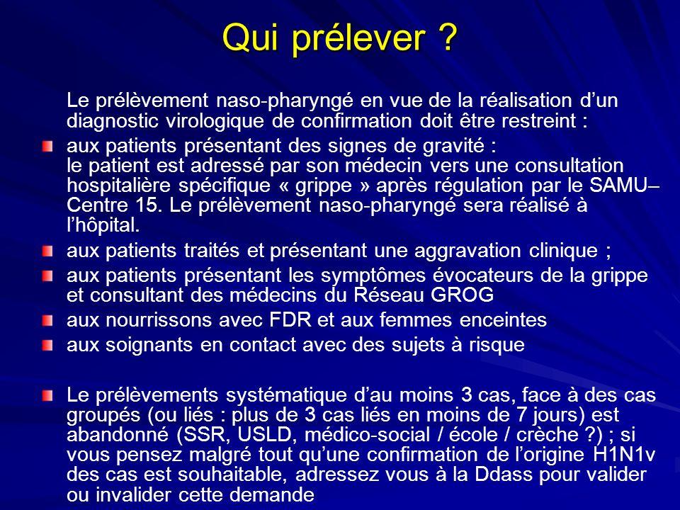 Qui prélever Le prélèvement naso-pharyngé en vue de la réalisation d'un diagnostic virologique de confirmation doit être restreint :