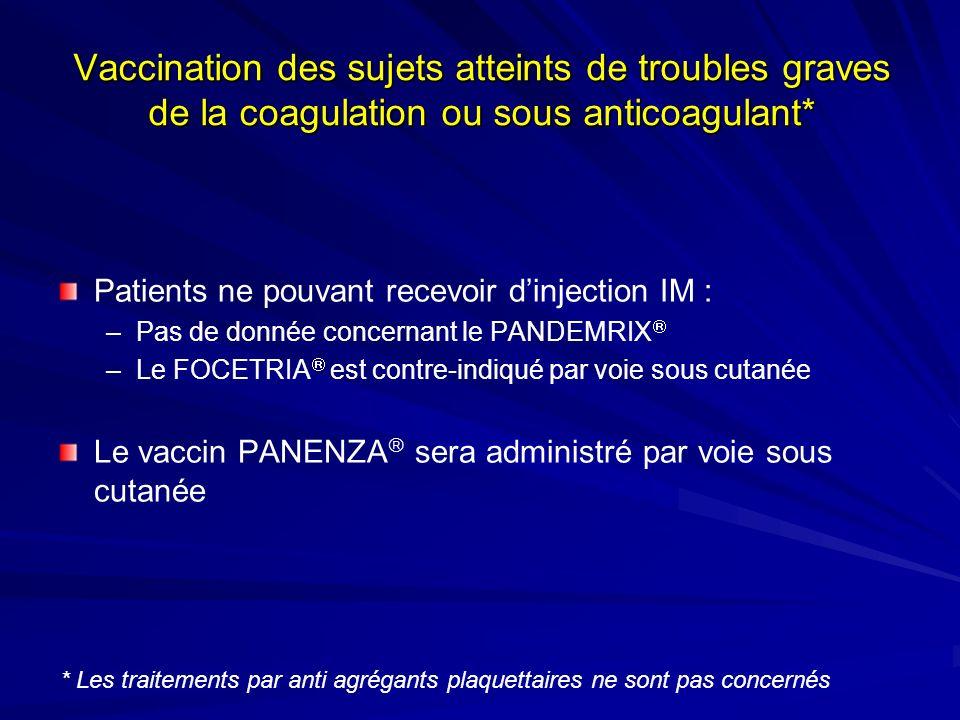 Vaccination des sujets atteints de troubles graves de la coagulation ou sous anticoagulant*