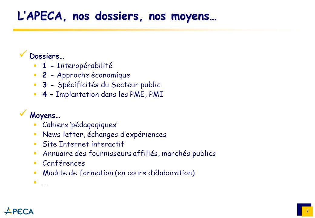 L'APECA, nos dossiers, nos moyens…