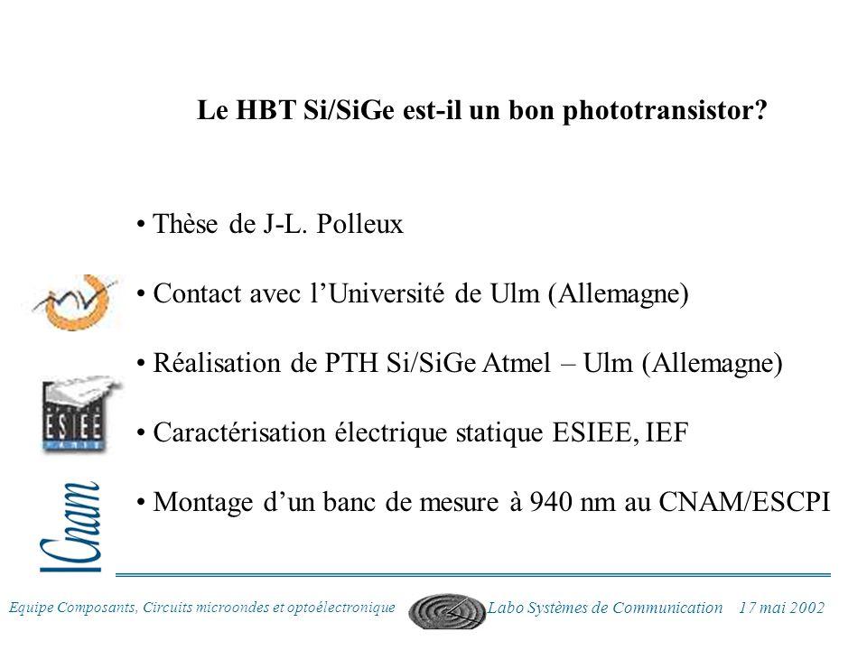 Le HBT Si/SiGe est-il un bon phototransistor