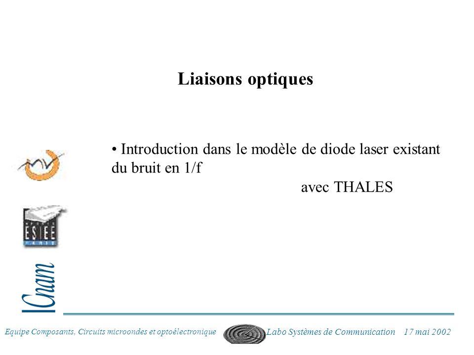 Liaisons optiques Introduction dans le modèle de diode laser existant