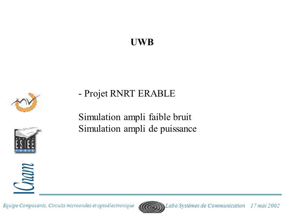 Simulation ampli faible bruit Simulation ampli de puissance