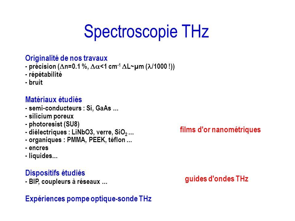 Spectroscopie THz Originalité de nos travaux Matériaux étudiés