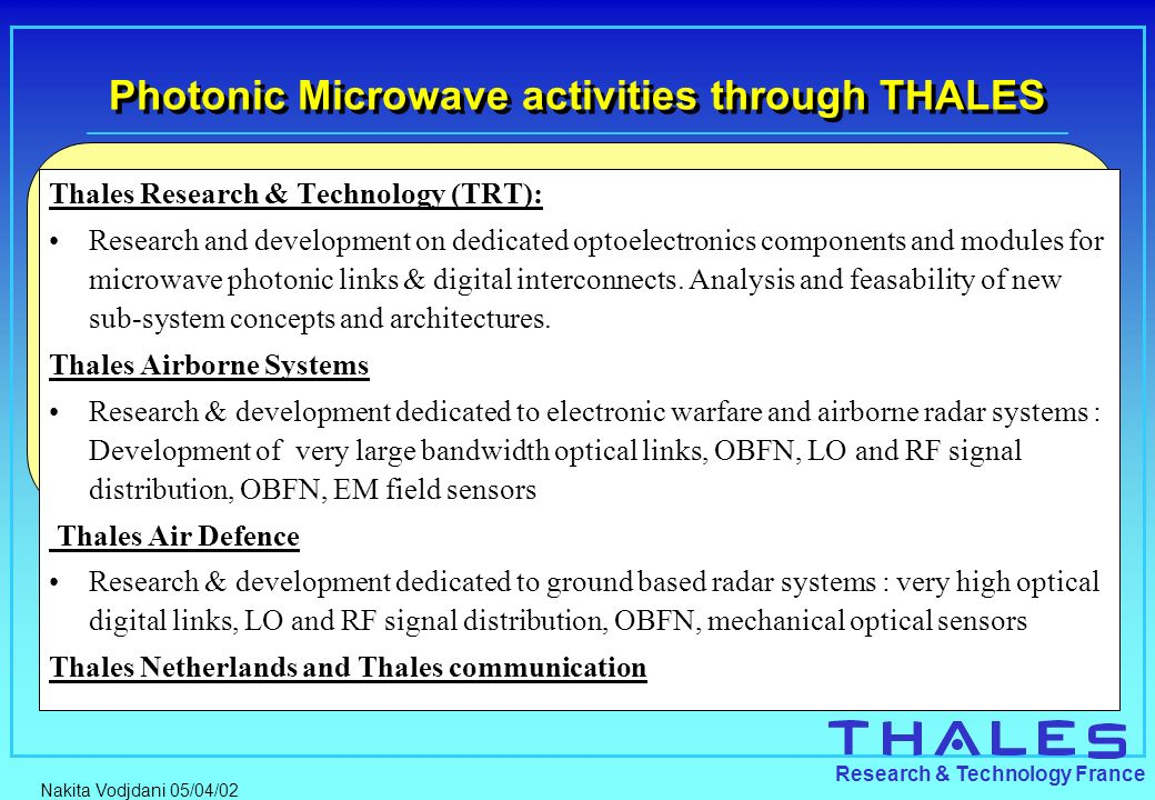 Photonic Microwave activities through THALES
