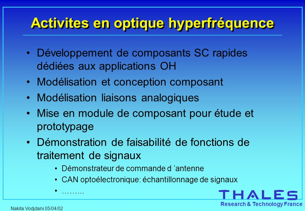 Activites en optique hyperfréquence