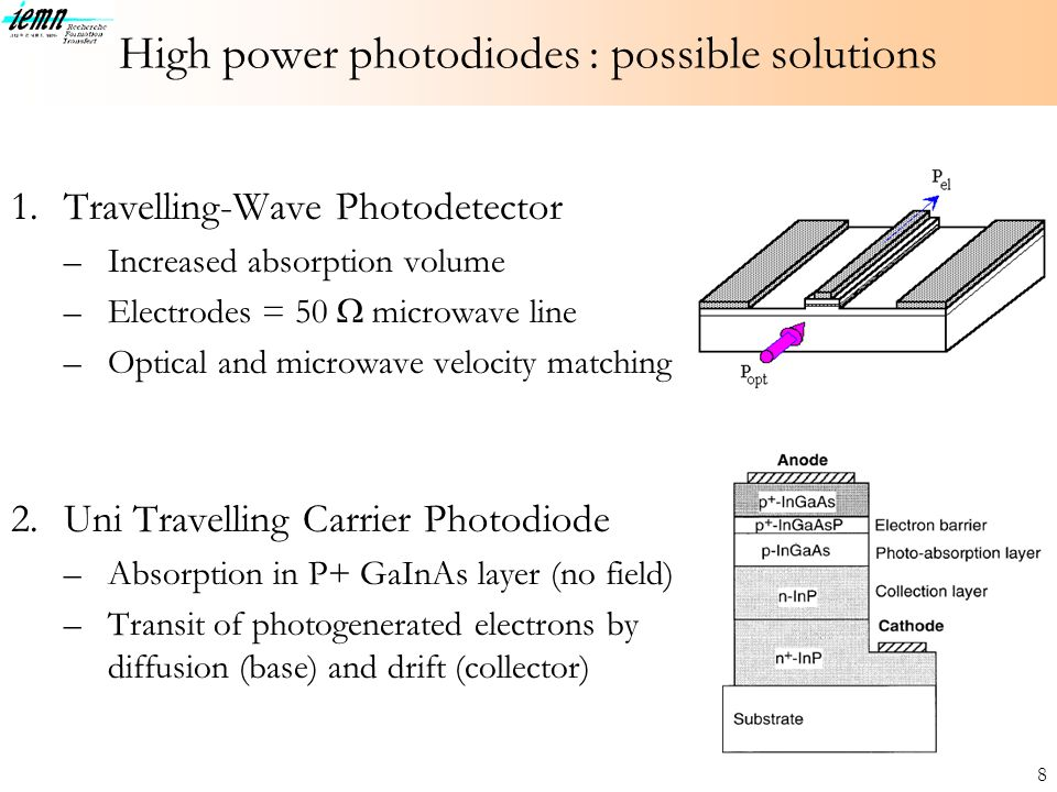 High power photodiodes : possible solutions