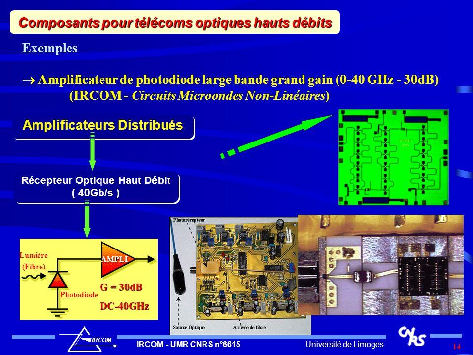 Composants pour télécoms optiques hauts débits