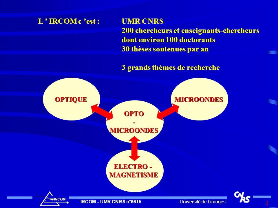 L ' IRCOM c 'est : UMR CNRS 200 chercheurs et enseignants-chercheurs