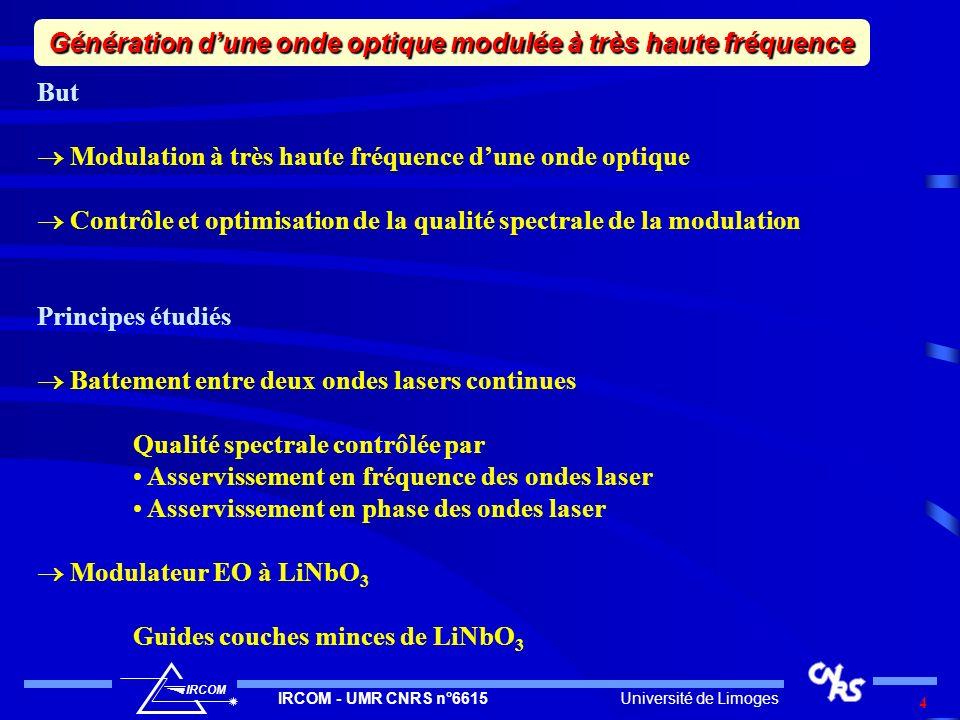 Génération d'une onde optique modulée à très haute fréquence